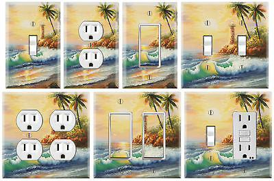 Lighthouse Sunset Waves - Graphics Art Toggle/Rocker/GFCI/Outlet Wall Plate