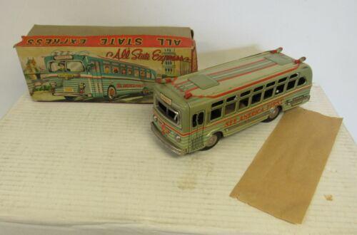 Vintage Tin Litho Friction Bus with Box Masudaya MT Toy Japan