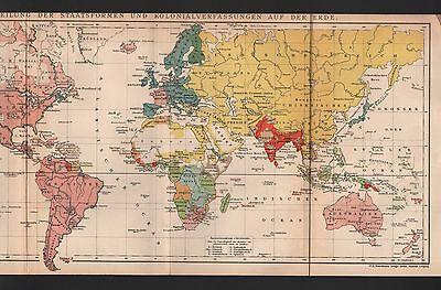 Landkarte map 1896 VERTEILUNG DER STAATSFORMEN U KOLONIALVERFASSUNGEN AUF D ERDE