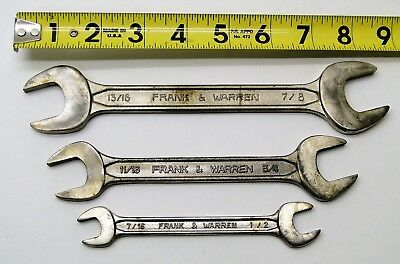 3 Pc Frank Warren Open End Wrench Set Aircraft Tools