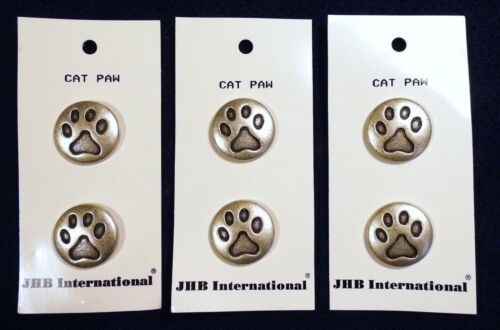 """Vtg 1990s JHB International 6 CARDED BUTTONS Antique Silver Kitty Cat Paw 3/4"""""""