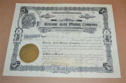 Revenue Gold Mining Company 1909 antique stock certificate