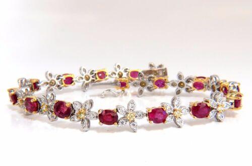 7.27ct Red Natural Ruby Diamonds Flower Cluster Tennis Bracelet 18kt