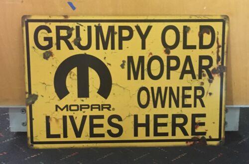 "Grumpy Old Mopar Owner Lives Here Metal Sign 12"" x 18"" Muscle Car Hot Rod"