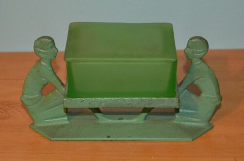 Antique Frankart Art Deco Green Glass Cigarette Trinket Box