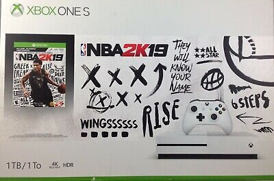 Microsoft Xbox One S 1TB NBA 2k19 Console Bundle White - Damaged Box (7276-SM00)