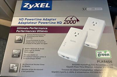 Brand New, Sealed, ZyXEL AV2000 Pass-thru Ethernet Adapter Powerline Pack of 2