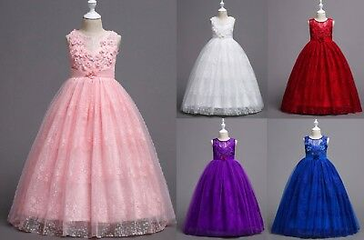 Beaded Flower Girl Dresses (Flower Girl Beaded Embroidered Dress Princess Party Bridesmaids Wedding Gown)