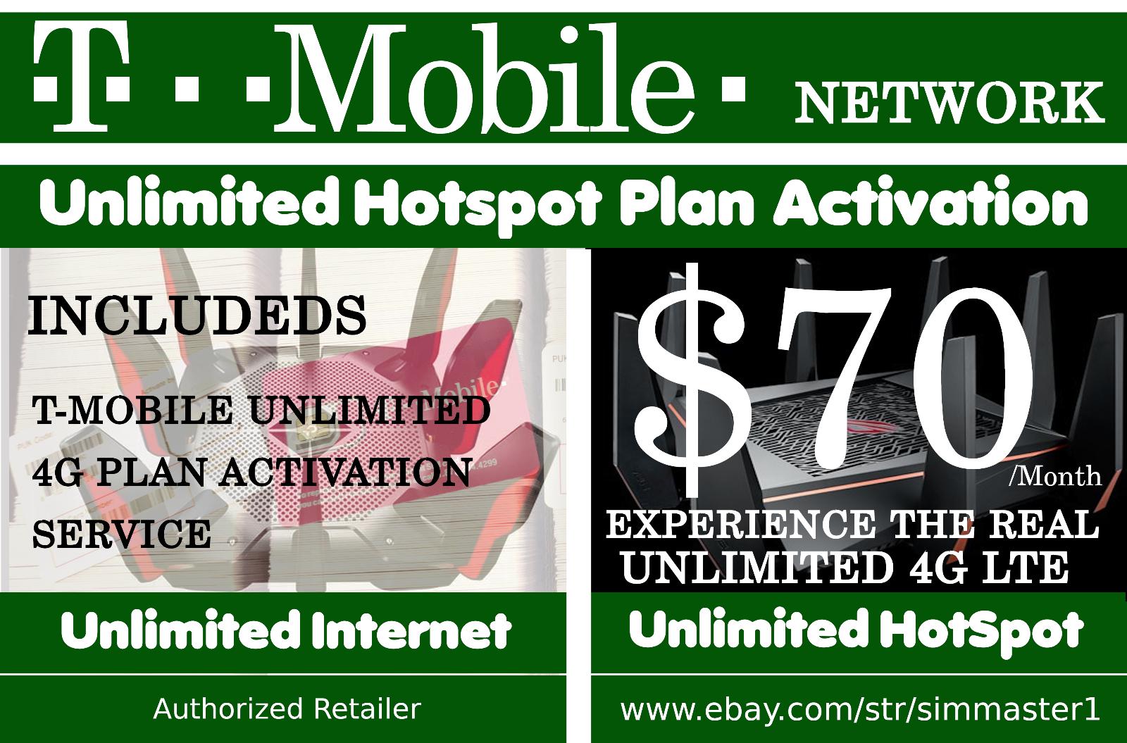 T-MOBILE Unlimited Data Hotspot 4G LTE Plan Rent Setup Servi