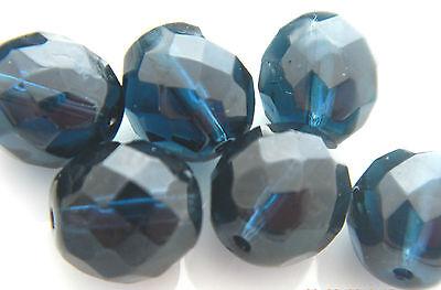 100 PCS WHOLESALE 8mm CZECH GLASS FIRE POLISHED LOOSE BEADS - MONTANA BLUE