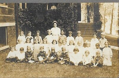 Halloween School Photo? Some in Costumes & Bags. School Play? c 1900 large Pic