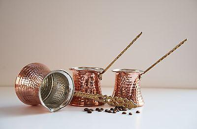SET 3  Copper Turkish Coffee Maker Pot Handmade Cezve Ibrik Briki FREE SHIPPING for sale  Turkey