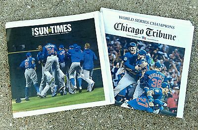 Chicago Tribune   Sun Times Newspapers 11 3 16 World Series Champs Chicago Cubs