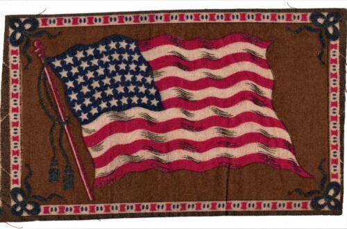 1910-1915 Cigar Box Cigarette Felt Silk Flag-48 STAR USA-8 x 5 in-EXC. CONDITION
