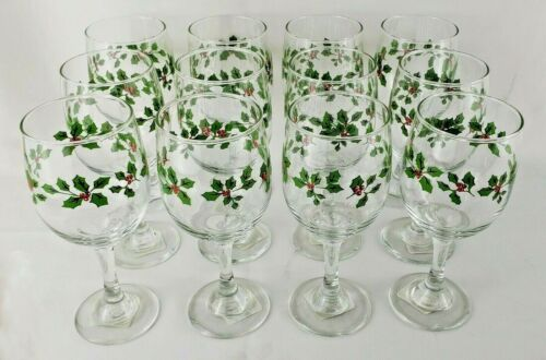 "Libbey Greenbrier Holly Berry 12 Water Wine Goblets 11.5 OZ 7"" USA New"