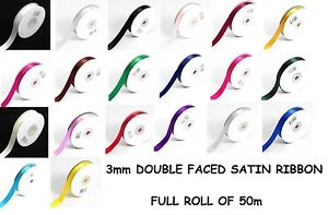 3mm-1-8-x-50m-SATIN-RIBBON-Double-Sided-Faced-Full-Roll-BUY-3-FOR-2