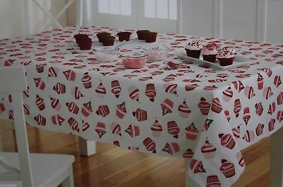 Valentine's Day White With Red & Pink Cupcakes Vinyl 52x70 Oblong Tablecloth for sale  Sandy Hook