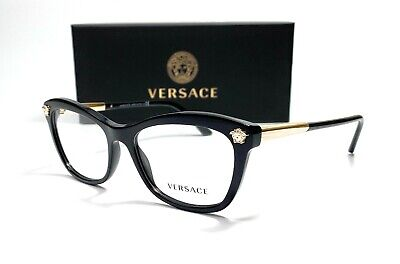 Versace VE3224 GB1 Black Demo Lens Women's Butterfly Eyeglasses Frame 54mm