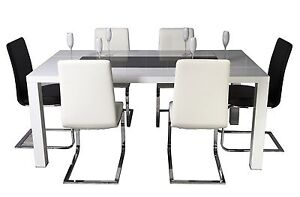 High Gloss White with Tempered Glass  Dinning Table with 6 Dinning Chairs