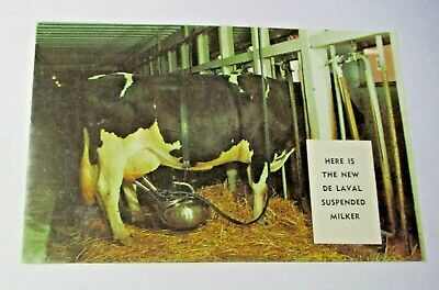 NOS VINTAGE DE LAVAL SUSPENDED MILKER ADVERTISING POSTCARD FARM DAIRY ANIMAL COW