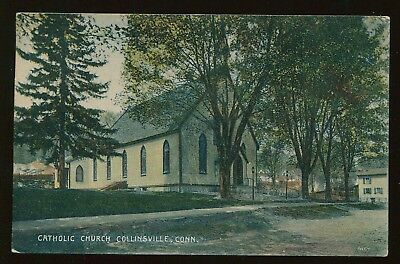 1909 German Made Postcard Catholic Church Collinsville CT B4405