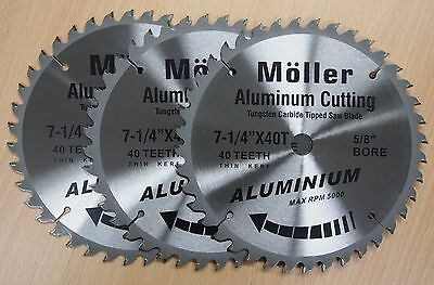 Lot Of 3 7-14 X 40t Aluminum Cutting Circular Saw Tct Blade
