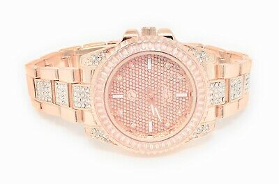 Ladies Rose Pink Gold Finish Baguette Lab Simulated Diamond Iced Out Watch New