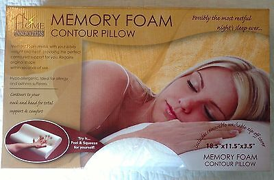 Home Innovations Memory Foam Contour Pillow Hypo-Allergenic Removable Cover NIB