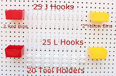 Plastic 74 Pc Kit 25 J L Hooks 20 Tool Holders 4 Bins Pegboard Not Included