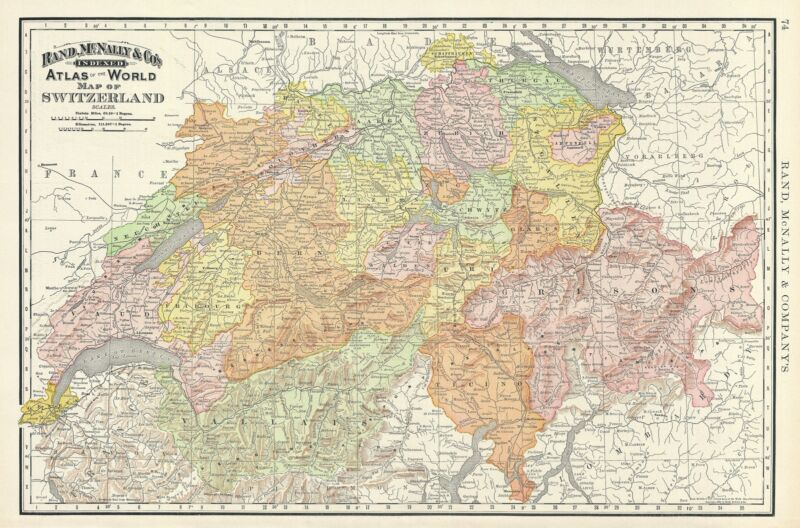 1892 Rand McNally Map of Switzerland