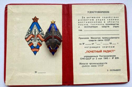 100% Original! Soviet Badge + Document Radio Operator USSR