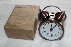 Hense Bright Copper Classical Retro Twin Bell Quartz Movement Alarm Clock New
