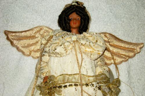 "15"" HANDMADE EBONY GUARDIAN ANGEL STANDING FIGURINE PORCELAIN HEAD GOLD TRIM"