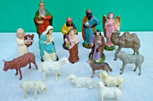 Antique CHRISTMAS German 17pc Putz Composition Nativity Scene figures & animals