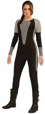 Jumpsuit Hunger Games Warrior Black Gray Fancy Dress Up Halloween Adult - Hunger Games Fancy Dress Costumes