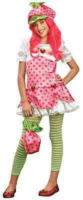 Strawberry Shortcake Cartoon Character Pink Fancy Dress Halloween Teen Costume