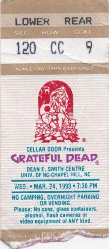 GRATEFUL DEAD TICKET 03-24-1993  UNIV. OF NORTH CAROLINA  **MAIL ORDER**