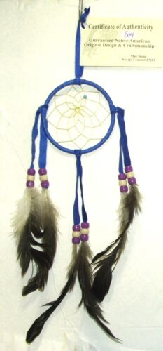 """3"""" hoop Dreamcatcher Authentic Native American Royal Blue FREE SHIPPING #804"""