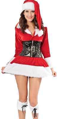 Damen Sexy Miss Mrs Nikolaus Weihnachtsmann Velvet Kostüm Kleid Outfit 8-10-12 (Mann Sexy Outfit)
