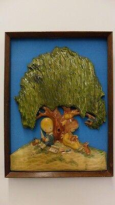 Vintage Folk Art Handmade Wood Carving Wall Hanging Boy & Girl Under Tree