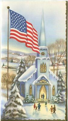 VINTAGE CHRISTMAS BLUE CHURCH SNOW VILLAGE US FLAG MID CENTURY ART GREETING CARD