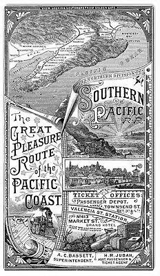 Southern Pacific Railroad Pleasure Route Railway Sign