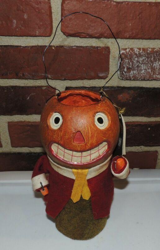 Bruce Elsass~ Hobgoblins PAPER MACHE PUMPKIN MAN Pail~Bethany Lowe~Halloween~NEW