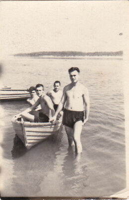 1950s Muscle nude naked men in the boat river gay interest Russian Soviet photo