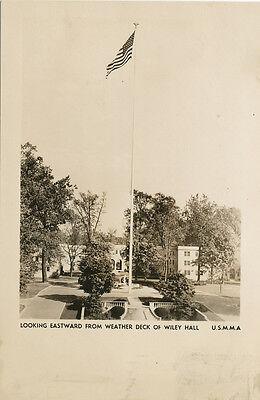 Kings Point NY * USMMA Flag Pole RPPC 1940s *US Merchant Marine Academy