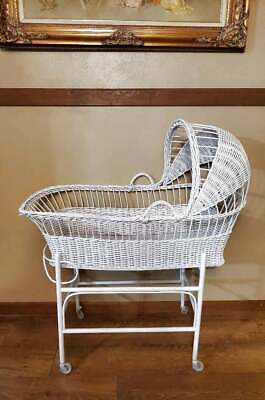 """Vintage White Wicker Rattan Baby Bassinet Cradle 40.5x36"""" PICK UP AVAILABLE"""