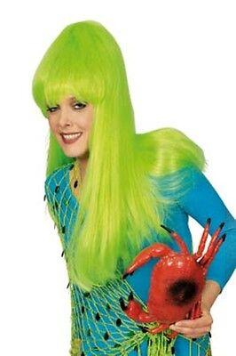 neon grün z.B. Kostüm Nixe Frosch Gothic Außerirdische NEU (Neon-grüne Perücken)