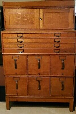 Antique Huuuge Office File Cabinetsolid Oak Brass Over 170 Years Olds.s.rare