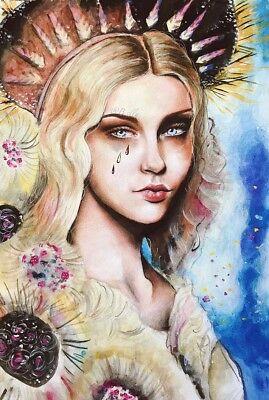 ORIGINAL Gemälde Acryl Buntstift Sonnengöttin Frau DIN A2 groß Neu Female Art