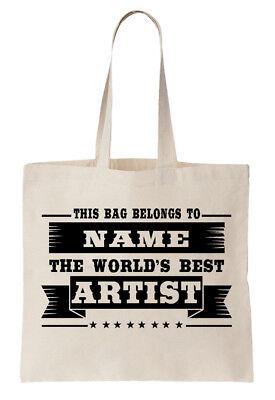 Personalised Tote Bag Shopper World's Best Art Designer Name Gift Artist
